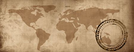 Old paper map of the world photo