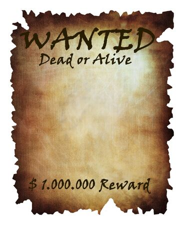 alive: old wanted paper: wanted dead or alive Stock Photo