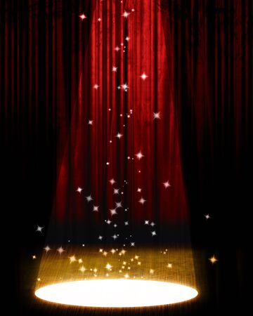 Movie or theater curtain with bright spotlight photo