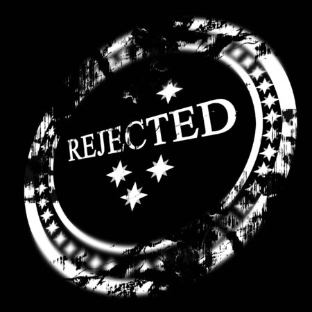 regulated: white rejected stamp on a black background