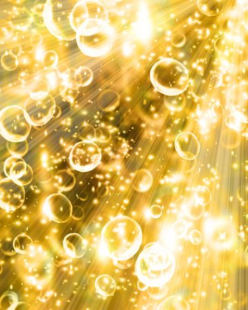 burbujas de champagne en un fondo dorado suave Foto de archivo
