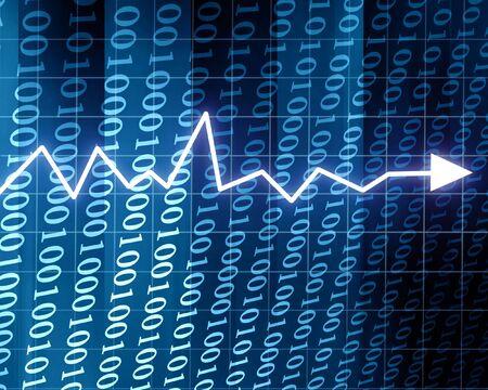 Steady arrow graph on a blue background Stock Photo