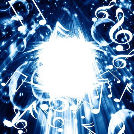 blue background with white music notes in it Stock Photo - 3689022