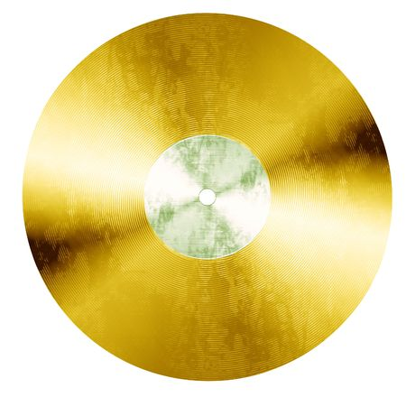 gold record: Isolated old vinyl record on a solid white background