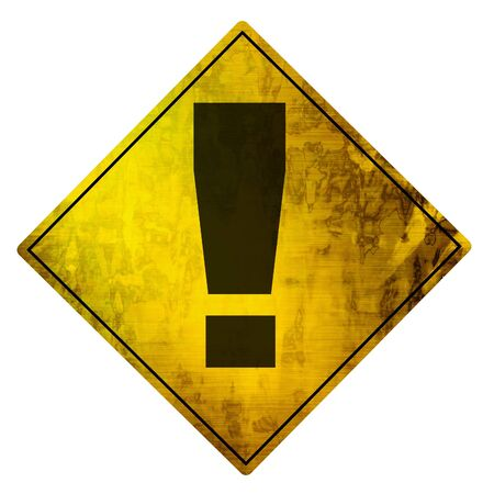 yellow road sign on a white background photo
