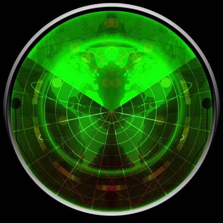 detect: Green radar screen Stock Photo