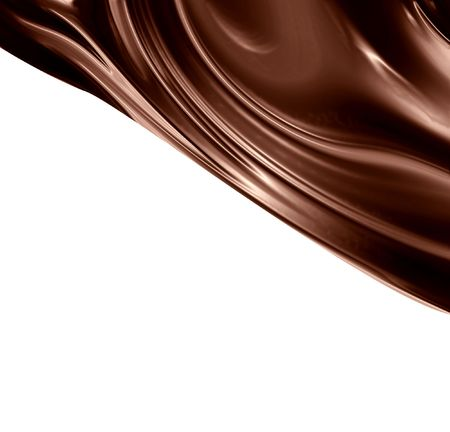 dripping chocolate: Chocolate swirl on a solid white background