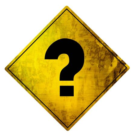 yellow road sign with a question mark on it photo