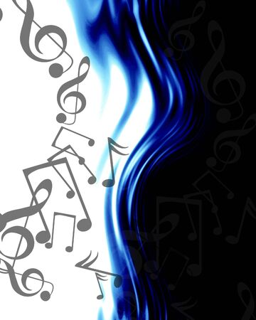 pc tune: musical notes on an abstract blue background