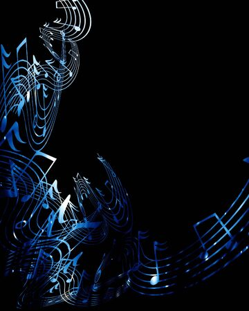 concert lights: music notes on a dark black background Stock Photo