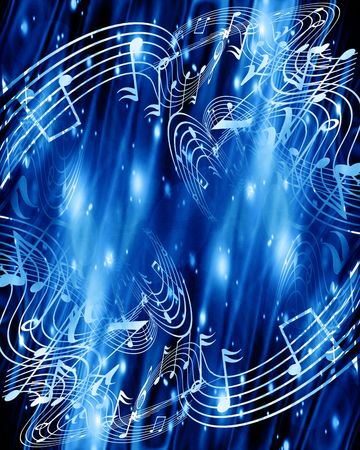 music notes on a soft blue background Stock Photo - 3719000