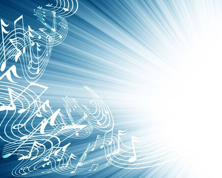 note pc: music notes on a soft blue background Stock Photo