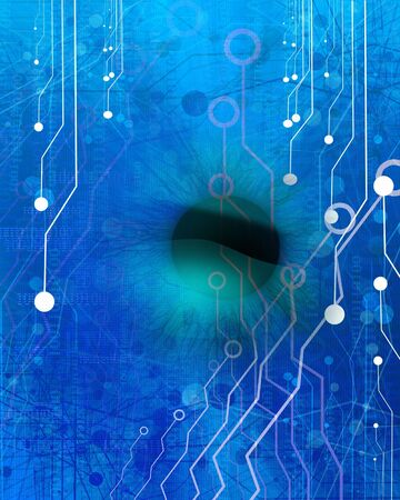 bytes: Computer circuit with integrated  human eye Stock Photo