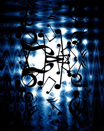 pc tune: music notes on a dark blue background