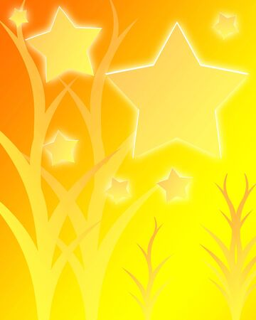 swirling: bright stars on a yellow and orange background Stock Photo