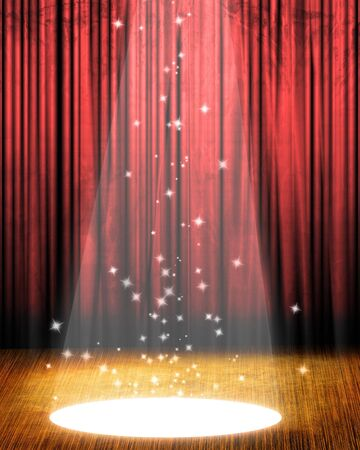 famous actor: Movie or theater curtain with a bright spotlight