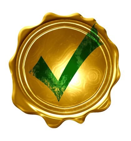regulated: gold medal with a green approved tick on it