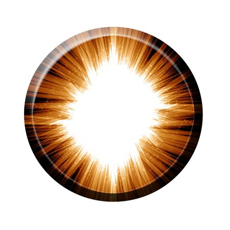 implode: fire ball button on a white background Stock Photo
