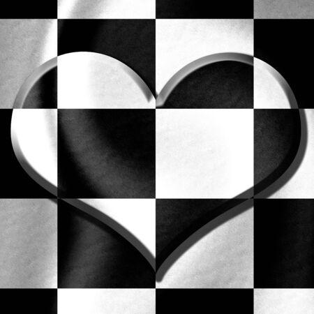 un coraz�n en blanco y negro de fondo Foto de archivo - 3753819