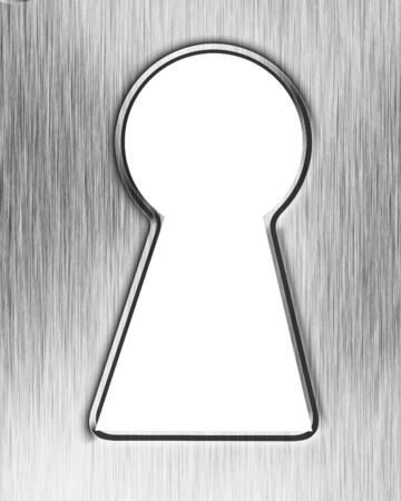 inox: Brushed metal plate with a keyhole in it