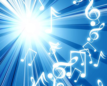 music notes on a soft blue background photo