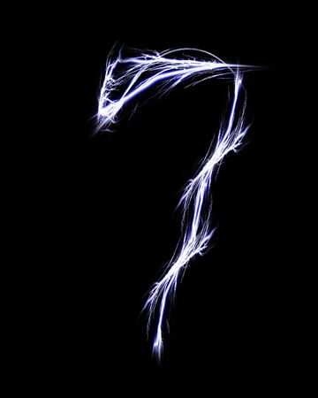 number seven: number seven on a solid black background Stock Photo