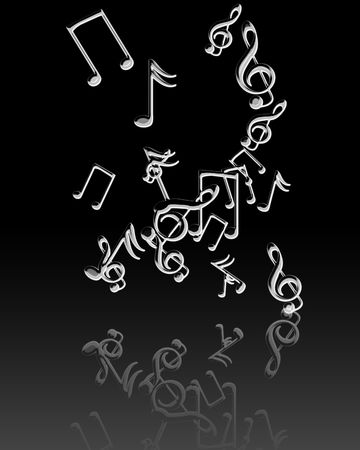 reflection: Silver music notes with some soft reflection Stock Photo