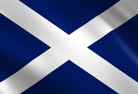 scottish flag: Scottish flag waving in the wind