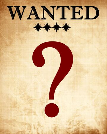 old wanted paper with a question mark on it Stock Photo - 3753421