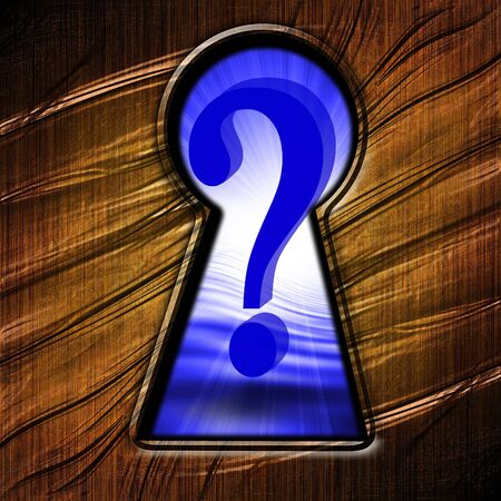 reflecting: key hole with an oulook on a question mark