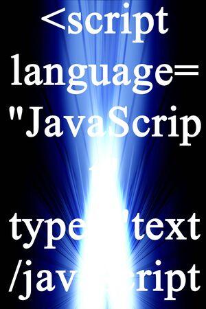 javascript: JavaScript en azul y un fondo negro