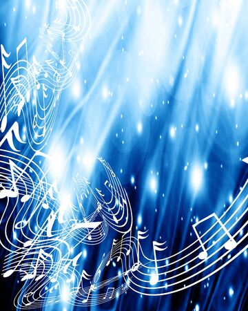 sound wave: music notes on a soft blue background Stock Photo