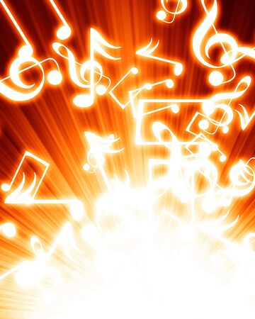 music notes in a fire like background Stock Photo