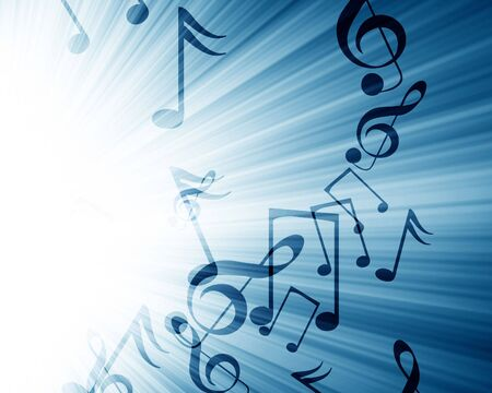 music notes in a soft blue background Stock Photo - 3782439
