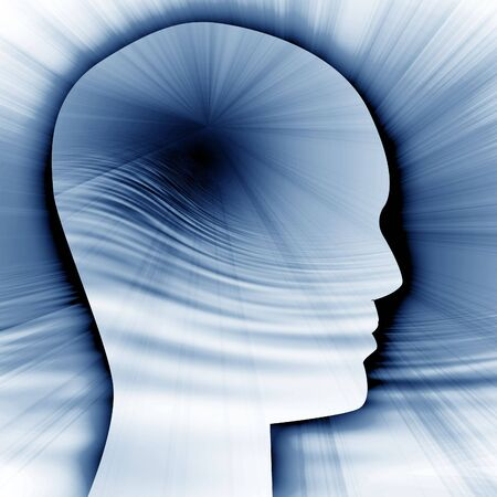 Human head silhouette with focus on the brain photo