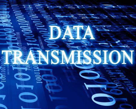 data transmission: bits and bytes on a blue background