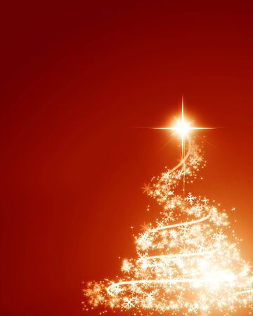 Abstract golden christmas tree on a red background photo