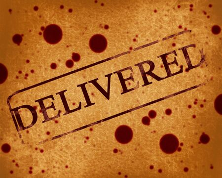 shipped: red stamp with delivered written on it Stock Photo