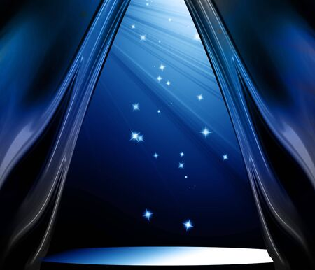 releasing: Blue curtain background with soft spotlight and sparkles