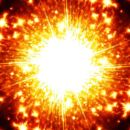 implode: Explosion with glitters on a dark background