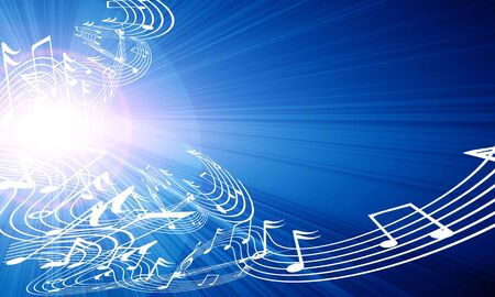 desktop wallpaper: music notes on a soft blue background Stock Photo
