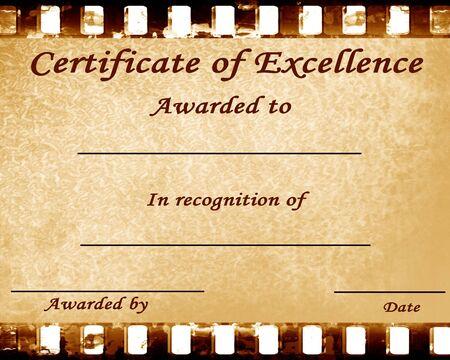 reconocimiento: certificado de excelencia con algunas manchas sobre el mismo Foto de archivo
