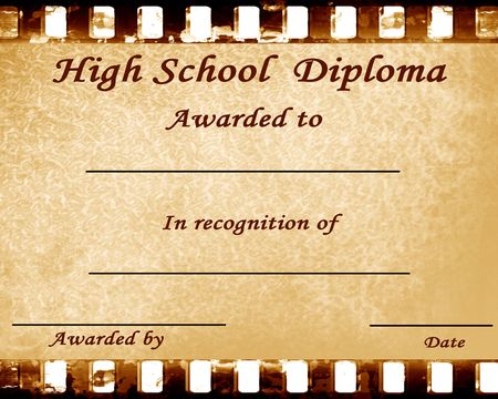 awarded: high school diploma with some stains on it Stock Photo