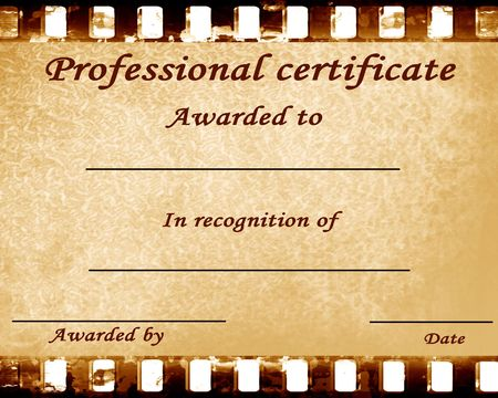 awarded: professional certificate with some stains on it