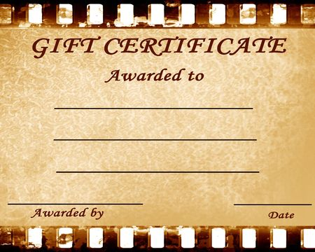 geschenkgutschein: Geschenk-Gutschein mit einigen Flecken auf