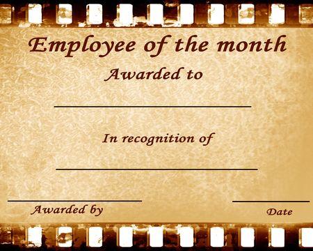 reconocimiento: empleado del mes: certificado con manchas Foto de archivo