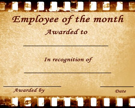 recognition: employee of the month: certificate with stains Stock Photo
