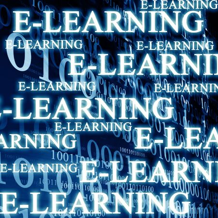 online learning: bits and bytes on a dark blue background