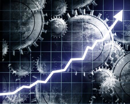 Arrow graph going up with integrated cogwheels Stock Photo