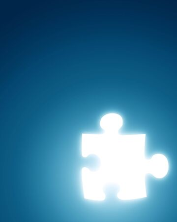 glowing puzzle piece on a blue background Stock Photo - 3826123